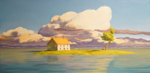 Painting of a house on a small island with blue skies, puffy clouds and pastel colors